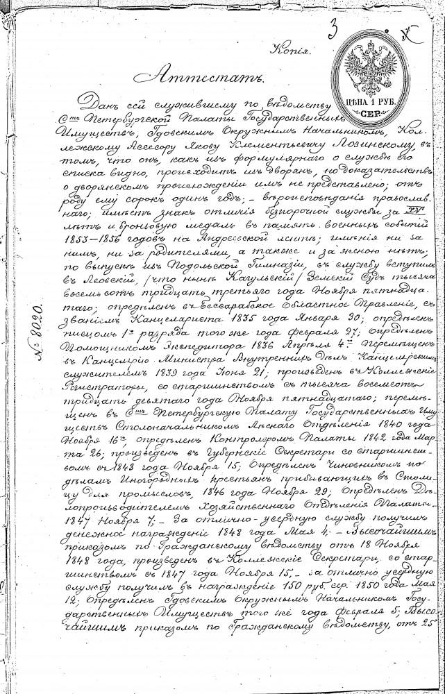 Прапрапрадед Яков Клементьевич Лозинский